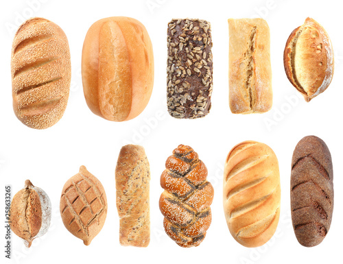 Staande foto Brood Set of fresh bread on white background, top view