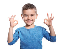 Little Boy Showing OK Gesture ...