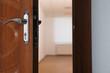 Open modern door to empty light room