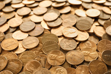 Pile Of Shiny USA One Cent Coins As Background
