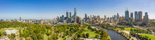 Panoramic View Of The Beautiful City Of Melbourne As Captured From Above The Yarra River On A Summer Day