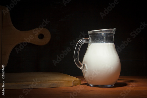 Fotografia, Obraz  Glass jug with milk