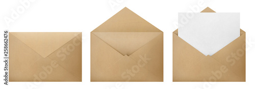 Fototapeta Set of brown envelopes (sealed, empty and with a blank paper inside), isolated on white background obraz