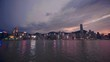 locked panoramic shot of Hong Kong sea side downtown skyline in golden sunset hour with orange and blue gradient sky and city lights, calm harbor water in foreground, tranquil good weather