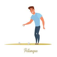 Male Petanque Player Cartoon Character