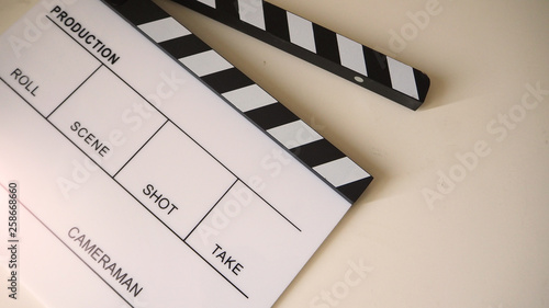 Obraz na plátně  Clapper board or movie slate use in video production and cinema industry