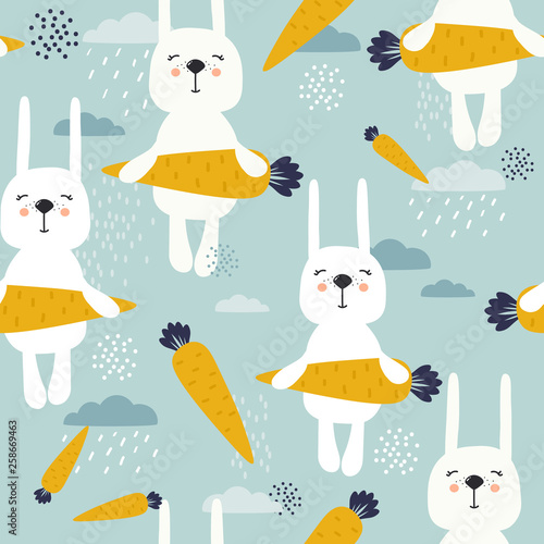Rabbits with carrots, hand drawn backdrop. Colorful seamless pattern with animals, clouds. Decorative cute wallpaper, good for printing. Overlapping colored background vector