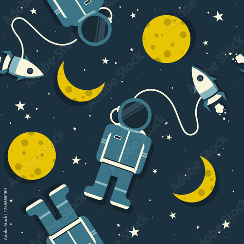 Space rockets, astronauts, moon and stars, hand drawn seamless pattern. Colorful overlapping background vector, outer space. Decorative bright wallpaper, good for printing. Backdrop design, flat style