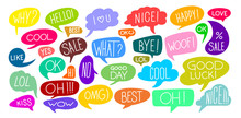 Set Of Various Cute Speech Bubble Doodle Stickers With Multiple Colors. Colorful Comic Speech Bubble And Dialogue. Vector Illustration. Isolated On White Background.