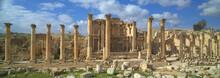 Ancient Jerash, Ruins And Colonnade Of The Greco-Roman City Of Gera At Jordan