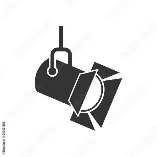 Spoed Foto op Canvas Licht, schaduw Spotlight icon in flat style. Lamp vector illustration on white isolated background. Flashlight business concept.