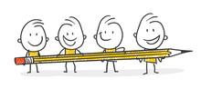 Strichfiguren / Strichmännchen: Bleistift, Teamwork. (Nr. 374)