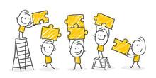 Strichfiguren / Strichmännchen: .Familie, Teamwork, Puzzle. (Nr. 373)