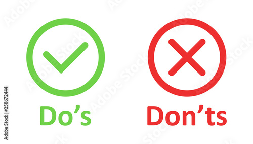 Do's and don'ts sign icon in flat style Wallpaper Mural
