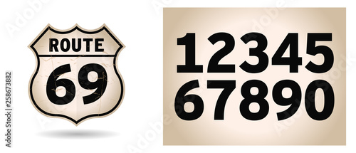 US Route shield with numbers separated Wallpaper Mural