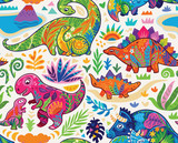 Fototapeta Dinusie - Cute seamless pattern with mom and baby dinosaurs and tropical plants. Vector illustration