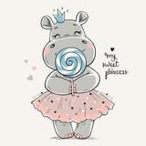 Fototapeta Fototapety na ścianę do pokoju dziecięcego - Hand drawn vector illustration of a cute hippo princess in a pink dress and with a big lollipop in her hands.