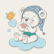 Hand Drawn Vector Illustration Of A Cute Baby Bear In A Striped Nightcap, Sitting On The Cloud.