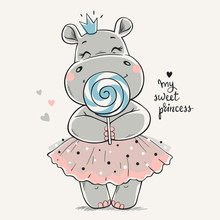 Hand Drawn Vector Illustration Of A Cute Hippo Princess In A Pink Dress And With A Big Lollipop In Her Hands.