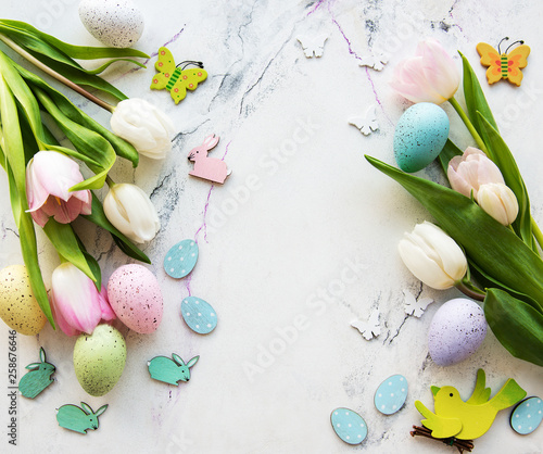 Fototapety, obrazy: Decorative  Easter eggs and tulips bouquet