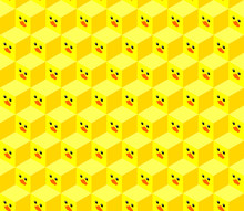 Seamless Pattern Of Isometric Cubes With Flat Design Cute Duck Face