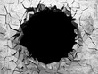 Dark cracked broken hole in concrete wall
