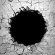 Dark destruction cracked hole in white stone wall