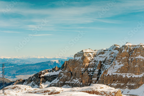 Valokuva  Mountain winter landscape. Snow Alps and rocks
