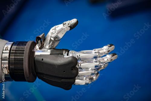 Foto auf Leinwand Indien Futuristic Robotic Hand for a handshake