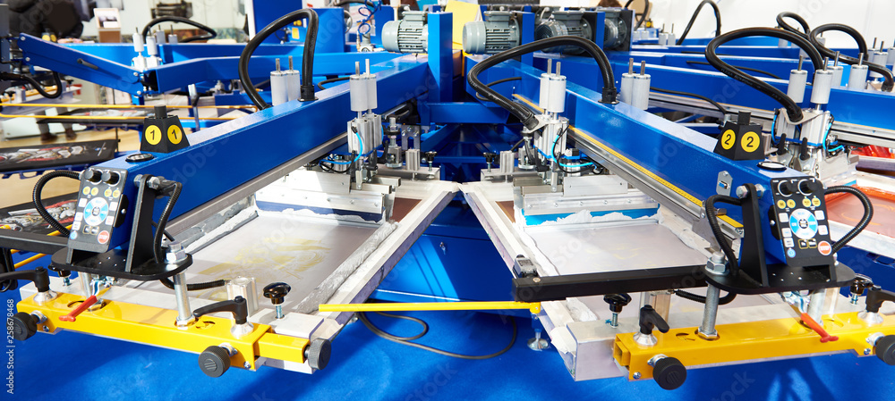 Fototapeta Automatic screen printing machine carousel