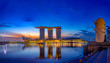 canvas print picture -  Marina Bay Sands at night the largest hotel in Asia.