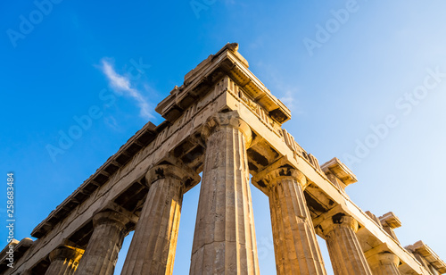 Valokuva View of corner of Parthenon and its columns on Acropolis, Athens, Greece against