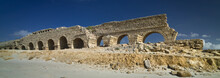 Part Of The Remains Of The Herodian Aqueduct Near The Ancient City Of Caesarea, Israel, Panoramic View