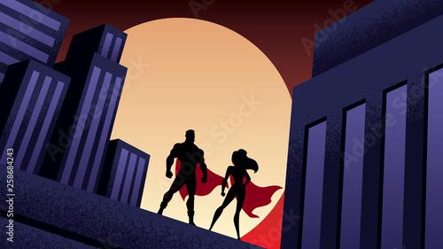 Fotografie, Obraz Superhero Couple City Night