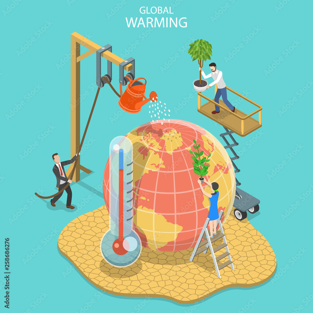 Fototapeta Isometric flat vector concept of global warming, climate change, natural disaster.