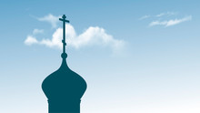 Silhouette Orthodox Church. Vector Illustration Of The Dome Of The Orthodox Church Against The Blue Sky.