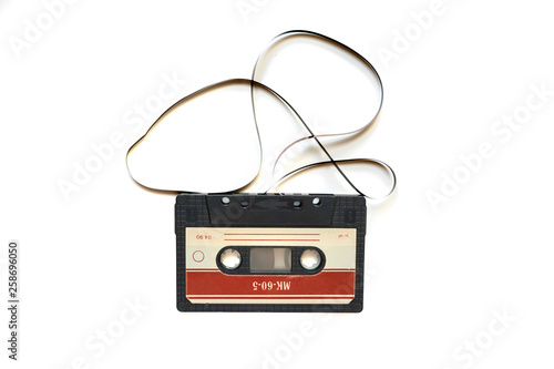 Photographie retro or vintage audio cassette tape isolated