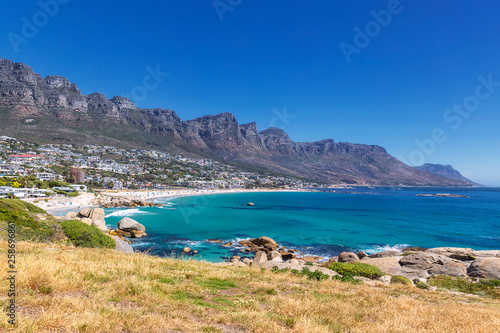 Printed kitchen splashbacks Turkey View of Camps bay beautiful beach with turquoise water and mountains in Cape Town, South Africa