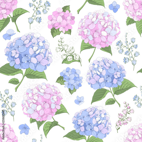 Fotomural Seamless Background With Hydrangea Flowers