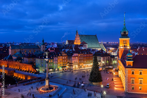 Fototapety, obrazy: Old Town in City of Warsaw at Night