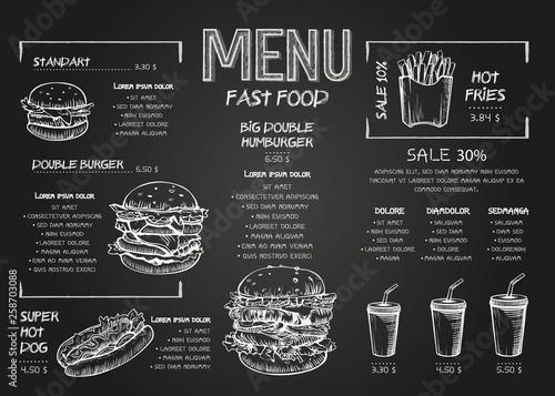 Photo Burger menu poster design on the chalkboard elements