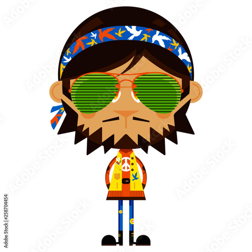 Photo Cartoon Sixties Flower Power Hippie in Shades