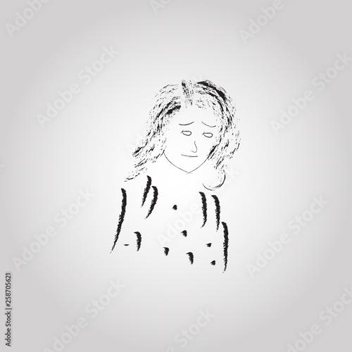 Vector design of sad woman,human expression Canvas Print