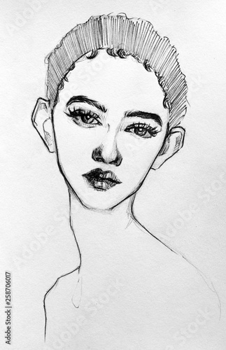 Woman with big ears illustrazione Wallpaper Mural