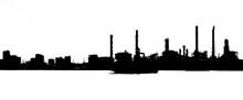Black Silhouette Of Industrial...