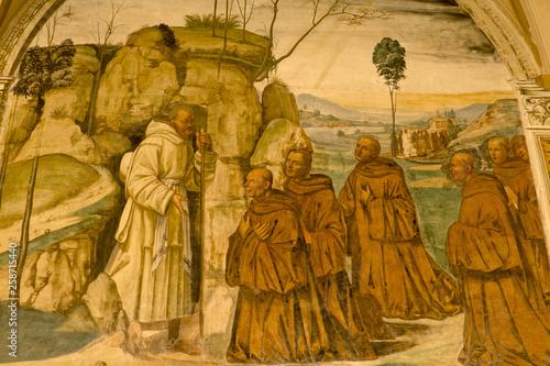 Fresco in Abbey of Monte Oliveto Maggiore, Siena, Tuscany - Italy Canvas Print