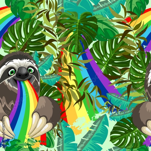 Spoed Foto op Canvas Draw Sloth Spitting Rainbow on Rainforest Vector Seamless Pattern