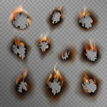 Burnt Holes. Scorched Paper Hole, Burned Brown Edge With Flame. Fire In Cracked Dirty Hole, Realistic Vector Set