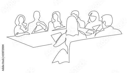 Obraz Business team meeting continuous line drawing - fototapety do salonu