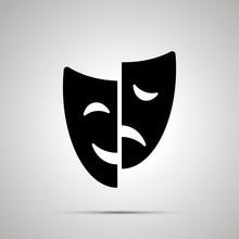 Happy And Sad Drama Mask Silhouette, Simple Icon